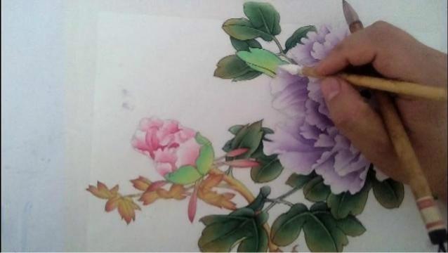 李祯工笔画 牡丹8牡丹花白粉提染与花褶画法
