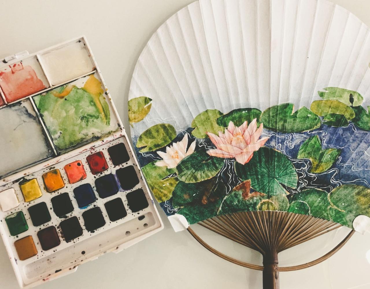 荷塘-手绘团扇【水彩过程】