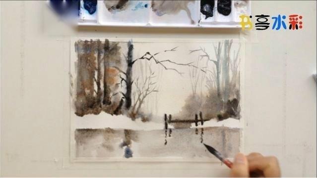 水彩画林中小溪风景教程