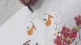 国画欣赏:凌霄花与大白鹅