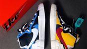 【MGCMADE】Sacai x Blazer with Dunk 白蓝/橘红 中帮 解构联名款休闲鞋