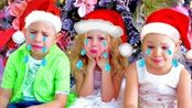 吉祥三宝一起过圣诞节,好像被吓哭了!是因为圣诞怪杰吗