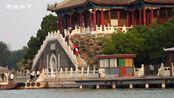 船上拍摄颐和园南湖岛涵虚堂风貌