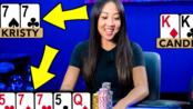 德州扑克:非常幸运的击中炸弹(4条)和葫芦的幸运女孩!