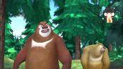 熊出没:光头强拿着自己的画像砍树,来了大风把画像吹走了
