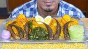 【bas】吃鸡蛋、炸鱼、洋葱、辣椒、色拉-印度菜吃-穆克邦吃(2019年11月7日22时47分)