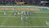 牛仔队21号左路掩护推进2码完成达阵得分 随后任意球附加分命中