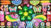 蝴蝶、花朵、小熊、棒棒糖等材料,自制无硼砂史莱姆,猜猜怎样