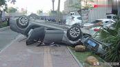 实拍:珠海一房地产员工开奥迪A6L逆行飞车!连撞6车直接报废