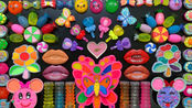 漂亮的蝴蝶彩泥、花朵彩泥、嘴唇彩泥、糖果水晶泥,混合史莱姆
