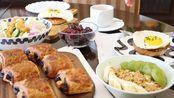 Vlog.8 周末的早餐   烟熏火鸡肉太阳蛋三明治   巧克力可颂   蔬菜沙拉   水果麦片酸奶