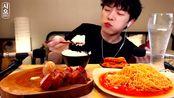 SIO吃烤五花肉+香辣拌面!猪五花烤着吃真的无敌了!
