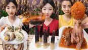 吃播小姐姐:吃八爪鱼爆头、 吃糖醋鱿鱼、吃麻辣海星、等美食