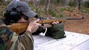 栓动步枪户外射击实测,采用.22lr口径弹药供弹,后坐力真小!