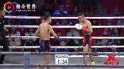 中国拳王昆仑决一脚高扫踢倒泰拳王,这脚KO踢得对手张嘴想哭