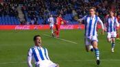 皇社角球造杀机,威廉·若泽头槌中柱梅里诺补射破门,皇家社会1-0西班牙人
