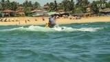 Jet skiing across the bumpy waves in Goa Beach