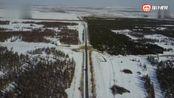 无人机航拍内蒙古赤峰 乌兰布统的雪