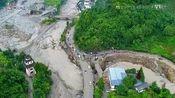 """航拍汶川发生暴雨,随后引发泥石流,整座""""废城""""被洪水围困"""
