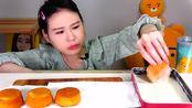 韩国弗兰西斯卡吃播软蛋糕点心泡热奶油,不腻?
