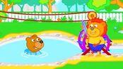 搞笑狮子家族动画:狮子王子在家里建设了一个巨大温泉泳池!