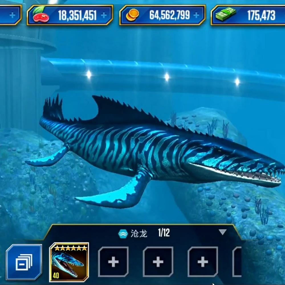 侏罗纪世界游戏第499期:沧龙和巨齿鲨恐龙公园